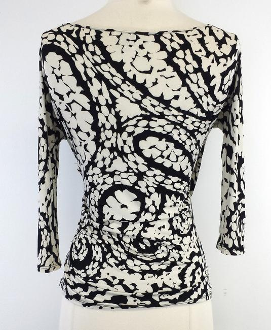 Max Mara Tan Black Print Wrap Top