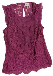 ECI New York Lace Pleated Top Purple