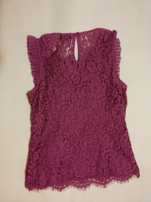 ECI New York Lace Pleated Scalloped Top Purple