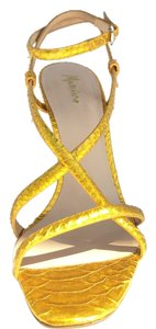 Marciano Strappy Leather Heel Yellow Sandals