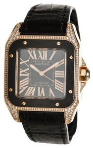 Cartier Cartier 18k Rose Gold and Diamond Santos Watch