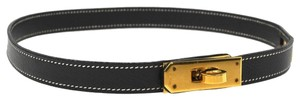 Hermès AUTHENTIC HERMES KELLY BRACELET BLACK GOLD LEATHER VINTAGE MADE IN FRANCE B21807