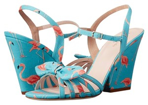 Kate Spade Vintage Cute Animal Turquoise, Flamingo Print Wedges