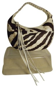 Banana Republic Zebra Linen Leather Fringe Shoulder Bag
