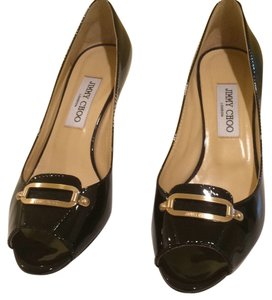 Jimmy Choo Patent Leather Open Toe black Pumps