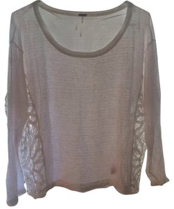 Free People Bohemian Lace Sheer Stripes T Shirt White