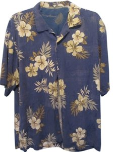 Tommy Bahama Top blue with floral print