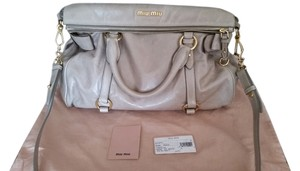 Miu Miu Leather Satchel in Grey