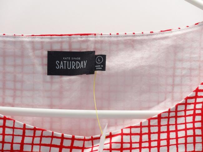 Kate Spade Red White Painted Checkered Crop Tie Large Top