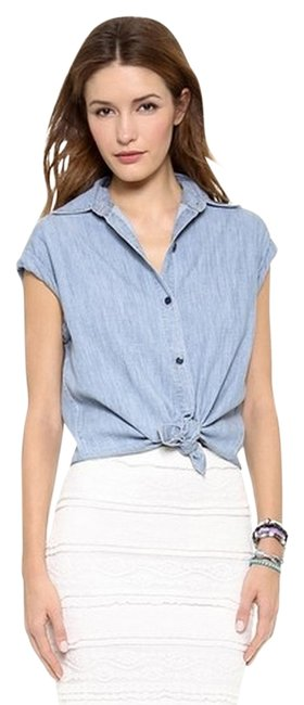 Item - Blue Oren Cuffed Sleeve Button-down Top Size 4 (S)