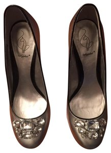 Baby Phat Wedge Metallic Cystals Silver Pumps