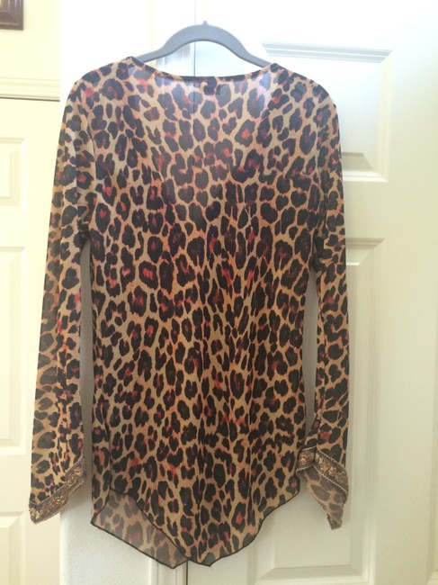 Love Amour Sleeve Embellished Brown Tan Rust Gold Animal Print Animal Top Multi Leopard
