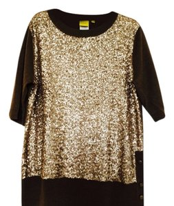 Yul Taylor Gold Sequin Front Some Sequins Show At Fancy Buttons At Side Extra Button Included Sweater