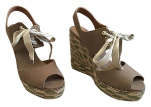 Tory Burch Wedge Olive Tan Platforms