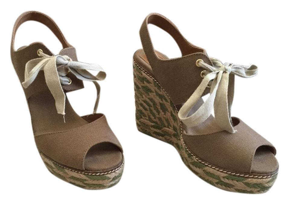 Tory Burch Olive Olive Burch Tan Wedges Platforms 62c576
