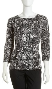 Lafayette 148 New York Belted Abstract Pockets Top Black and White