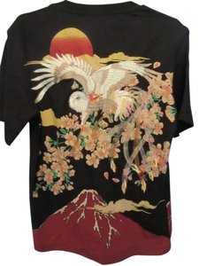 asian unknown T Shirt black with embroidery