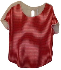 LC Lauren Conrad T Shirt Peach & cream stripes