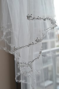 Ansonia Bridal New Two-tier Beaded Crystal Wedding Veil