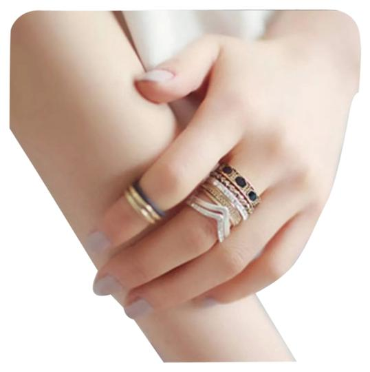 Other NEW Gold & Silver Boho Chevron Stackable Ring Set Sz 6.5