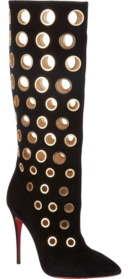 c60add4e7c41 Christian Louboutin Black Gold Suede New Apollo Botta Grommet Knee High 36  Boots Booties