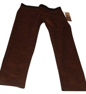 Karen Kane Faux Leather Straight Pants brown, black