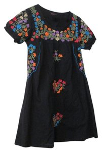 Motel Rocks short dress Black with embroidered flowers Looks Vintage on Tradesy