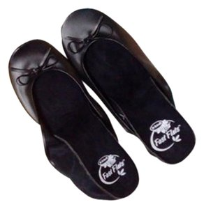 Dr. Scholl's. For She Monogram Black Folded Flats, Gold Wristlet Flats