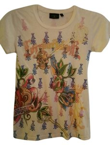Christian Audigier Small Fits Like Xs C. T Shirt Colorful designs/ Cream colored t- shirt