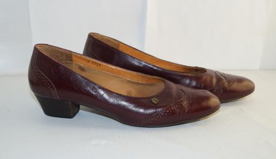 Etienne Aigner Retro 80s Office Dress Dark Red Pumps