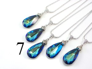 Set Of 7 Bridesmaid Necklace Bermuda Blue Swarovski Crystal Teardrop Necklace Crystal Necklace Jewelry Peacock Gift