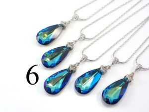 Set Of 6 Bridesmaid Necklace Bermuda Blue Swarovski Crystal Teardrop Necklace Crystal Necklace Jewelry Peacock Necklace