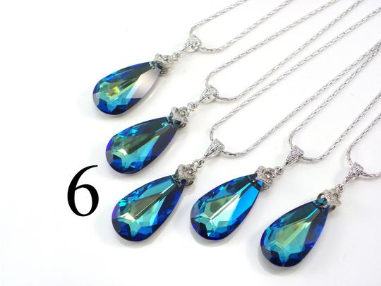 Preload https://img-static.tradesy.com/item/5905507/blue-set-of-6-bridesmaid-bermuda-swarovski-crystal-teardrop-crystal-peacock-necklace-0-0-540-540.jpg
