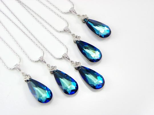 Blue Set Of 6 Bridesmaid Bermuda Swarovski Crystal Teardrop Crystal Peacock Necklace