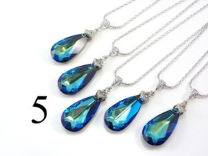 Set Of 5 Bridesmaid Necklace Bermuda Blue Swarovski Crystal Teardrop Necklace Crystal Necklace Jewelry Peacock Necklace