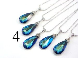 Set Of 4 Bridesmaid Necklace Bermuda Blue Swarovski Crystal Teardrop Necklace Crystal Necklace Jewelry Peacock Necklace