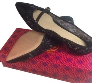 Tory Burch Sutton Lace Satin Size Ballerina 6.5 Black Flats