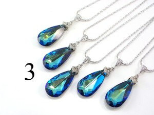 Set Of 3 Bridesmaid Necklace Bermuda Blue Swarovski Crystal Teardrop Necklace Crystal Necklace Jewelry Peacock Necklace