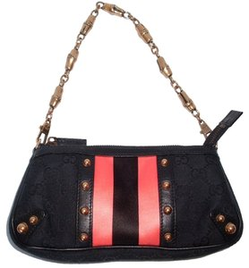 Gucci Studded Monogram Satin Stripe Leather Detailing black, hot pink, rose gold tone Clutch