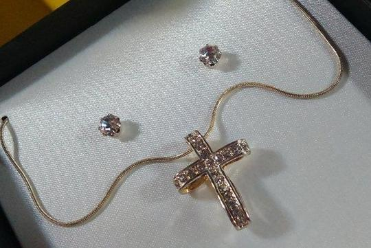 Other Cross pendant with rhinestones and studs