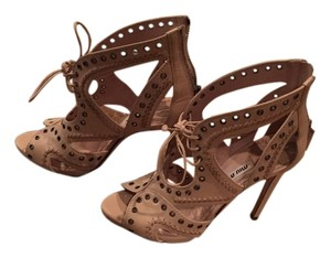 Miu Miu Cage Cut Out Lace Up Grommets nude Sandals