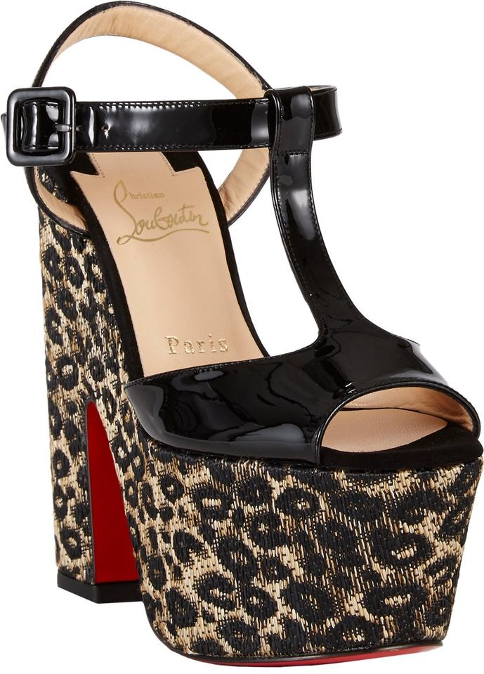 2c4c0c4f1f2 Christian Louboutin Black Animal Print New So Bella Leopard Raffia Platform  T-strappy 37.5 Sandals Size US 7.5 27% off retail
