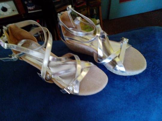 C Label Monogram Gold & Tan Wedges Image 5