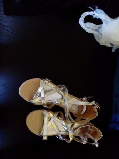 C Label Monogram Gold & Tan Wedges Image 6