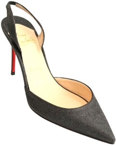 Christian Louboutin Ever 85mm Glitter Slingback Halter Red Sole 6.5 36.5 Black Pumps
