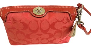 Coach Monogram Bright Color Red Orange Wristlet in Red/Bright Orange