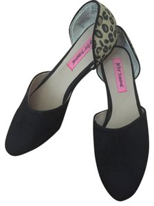 Betsey Johnson D'orsay Slip On Cut-out Black/Leopard Flats