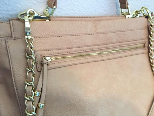 Olivia + Joy Business Gold Accent Chain Double Strap Tote in Tan