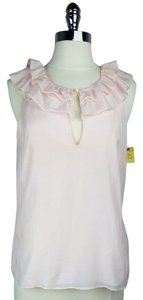 J.Crew Sleeveless Ruffle Pullover Silk Cotton Top Pink