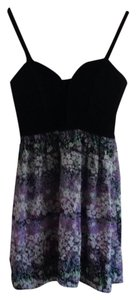 Twelfth St. by Cynthia Vincent short dress Black/floral violet and green on Tradesy